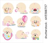 cute cartoon baby girl set | Shutterstock . vector #645588757
