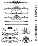 set vector vintage decorations... | Shutterstock .eps vector #645589387