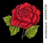 embroidery red rose with green... | Shutterstock .eps vector #645595753