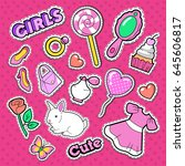 cute girl fashion stickers ... | Shutterstock .eps vector #645606817