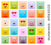 set of square colorful... | Shutterstock .eps vector #645610123