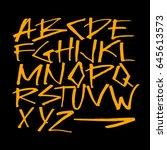 handlettering graffiti alphabet | Shutterstock .eps vector #645613573