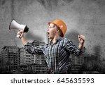 engineer woman screaming in... | Shutterstock . vector #645635593
