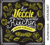 vegan food poster for... | Shutterstock .eps vector #645638287