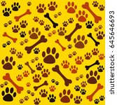 background with dog paw print... | Shutterstock .eps vector #645646693