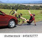 accident cars with biker. car... | Shutterstock . vector #645652777