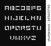 simple stencil font. vector... | Shutterstock .eps vector #645653743