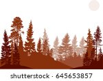 illustration with high pines in ... | Shutterstock .eps vector #645653857