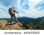 backpacker hiking on mountain... | Shutterstock . vector #645655003