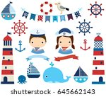 cute nautical set with girl and ... | Shutterstock .eps vector #645662143