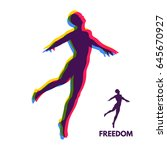 silhouette of a jumping man.... | Shutterstock .eps vector #645670927