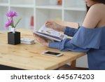 teen girl reading book with...   Shutterstock . vector #645674203