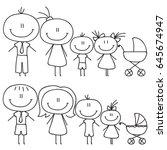 Set Of Happy Cartoon Doodle...