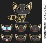 black cat with emoji faces | Shutterstock .eps vector #645679567