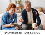 trained wise doctor... | Shutterstock . vector #645684733