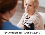 petite graceful lady having a... | Shutterstock . vector #645693343