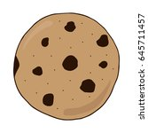chocolate chip cookie vector... | Shutterstock .eps vector #645711457