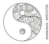 yin and yang. zentangle. hand... | Shutterstock .eps vector #645711733