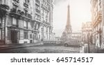 small paris street with view on ... | Shutterstock . vector #645714517