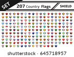 set 207 countries flags shield... | Shutterstock .eps vector #645718957