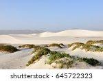 big white sand dunes at aomak... | Shutterstock . vector #645722323