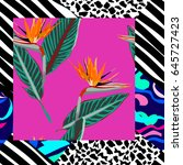 seamless floral patchwork... | Shutterstock .eps vector #645727423