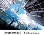 airplane flying over business... | Shutterstock . vector #645729613