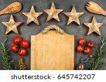 five stars on dark background   Shutterstock . vector #645742207