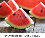 watermelon sliced on wooden...   Shutterstock . vector #645745687
