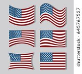 set usa flags to independence... | Shutterstock .eps vector #645767527