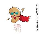 vector funny cartoon cute brown ...   Shutterstock .eps vector #645771283