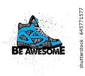 hand drawn 90s themed badge... | Shutterstock .eps vector #645771577