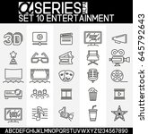 set of simple icons in thin... | Shutterstock .eps vector #645792643