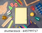 back to school background with... | Shutterstock . vector #645799717
