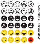 smiley faces icons set of... | Shutterstock .eps vector #645807097
