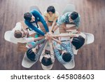 all together  topview of... | Shutterstock . vector #645808603