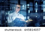 cute girl intern read book.... | Shutterstock . vector #645814057