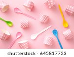 colorful spoons and cupcake... | Shutterstock . vector #645817723