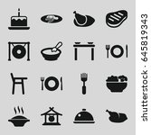 plate icons set. set of 16... | Shutterstock .eps vector #645819343