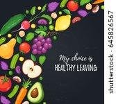 my choice is healthy eating.... | Shutterstock .eps vector #645826567