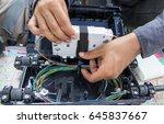 repair fiber optic cabling | Shutterstock . vector #645837667