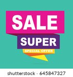 super sale vector banner.  50... | Shutterstock .eps vector #645847327