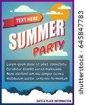 summer party poster  banner.... | Shutterstock .eps vector #645847783