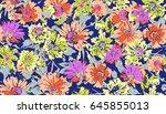 seamless floral design   Shutterstock . vector #645855013
