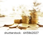 stack of money  rows of coins... | Shutterstock . vector #645862027