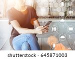 close up of a smartphone in... | Shutterstock . vector #645871003