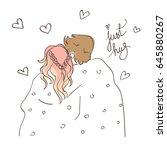 romantic style sweet couple... | Shutterstock .eps vector #645880267