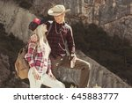 couple travelers man and woman... | Shutterstock . vector #645883777