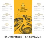 restaurant menu design. vector... | Shutterstock .eps vector #645896227