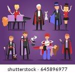 magician prestidigitator... | Shutterstock .eps vector #645896977